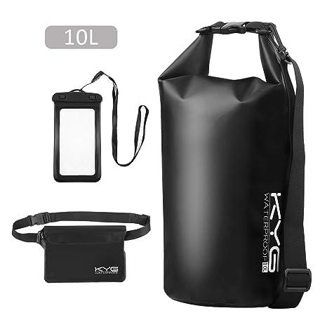 Premium bolsa estanca 10L impermeable seca PVC- Set de bolsa waterproof con funda táctil de móvil y bolsa cintura para playa y deportes al ...