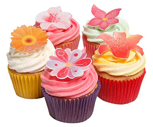 48 Mixed Summer Flowers- Beautiful Edible Cake Decorations
