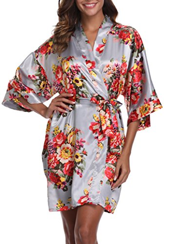 1stmall Floral Satin Kimono Short Style Bridesmaids Robes for Women