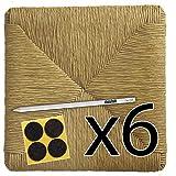 Fondi in paglia 37x37 Ricambi per sedie impagliate [Set di 6 pz] + Feltrini e Matita in OMAGGIO