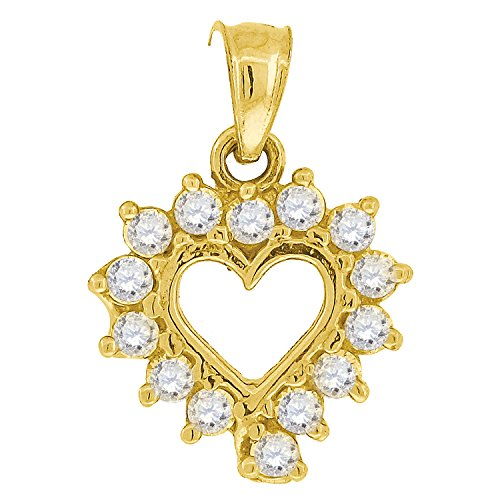 10kt Yellow Gold Womens Round Cubic Zirconia CZ Heart Fashion Charm Pendant