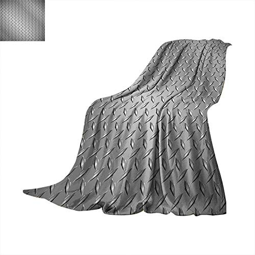 xtra Long Blanket Wire Fence Design Netting Display with Diamond Plate Effects Chrome Kitsch Motif Print Oversized Travel Throw Cover 70