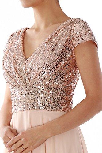 MACloth Cap Sleeve V Neck Sequin Chiffon Bridesmaid Dress Formal Evening Gown (EU50, 0)