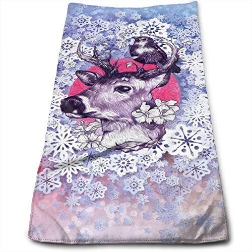 AZOULA Color Elk Christmas Reindeer Face Hand Towels Microfiber Sport Towels for Sports, Hair Care, Cosmetology, Cleaning, Furniture Makeup Removing Cloths Fast Drying 27.5 X 12 Inch.