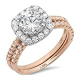2.10 CT Round Cut CZ Pave Halo Solitaire Designer Classic Ring band set Solid 14k Multi Rose White Gold