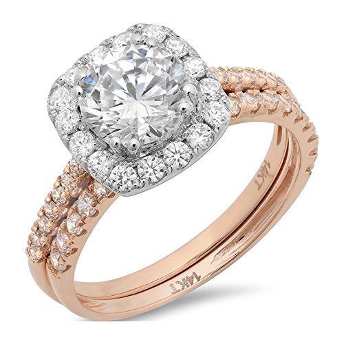 2.35 Ct Round Cut Pave Halo Engagement Wedding Bridal Anniversary Ring Band Set 14K Rose White Gold, Size 6, Clara (Tiffany Set 6 Prong)