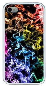 Cool Abstract Colorful Smoke TPU White Case for iphone 4S/4