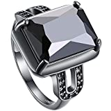 AWLY Jewelry Women 18k Black Gold Square Large Stone Princess Cut Cubic Zirconia CZ Solitaire Wedding Ring