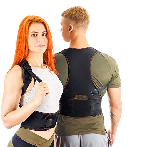 VOSMAE Posture Corrector Back Brace for Woman Men - Improve Universal Comfortable Fully Adjustable Spine Corrector - Clavicle Support Improve Bad Posture Shoulder Alignment and Pain Relief (L)