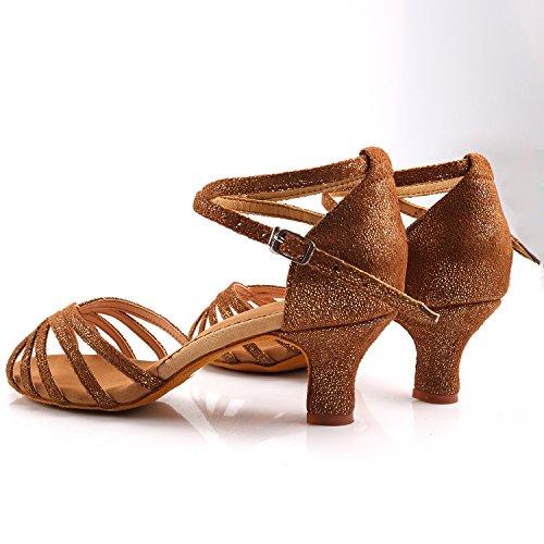 Azbro Mujer Zapatos de Baile Latino de Medio Tacón Correa con Puntera Abierta Bronce