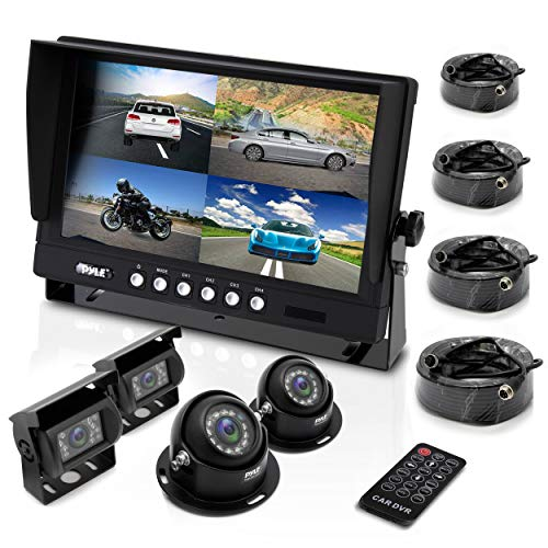"Pyle Mobile Video Surveillance System - Weatherproof Rearview, Backup and Dash Cam with HD 4 IR LED Night Vision Cameras and 7"" Monitor for Trucks, Trailers, Vans, Buses and Vehicles - PLCMTR74"