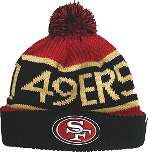 傾向があります地域抵抗San Francisco 49ers Calgary Pom Topカフニット帽子ビーニーレッドブラック