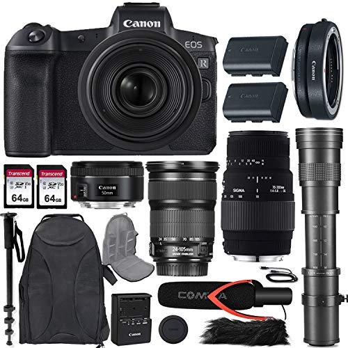 Canon EOS R Mirrorless Camera w/Extra Canon LP-E6N Battery Pack + 4 Lens Kit (24-105mm f/3.5-5.6 STM + 50mm f/1.8 STM + 70-300mm f/4-5.6 DG Macro + 420-800mm Zoom) + Premium Accessory Bundle