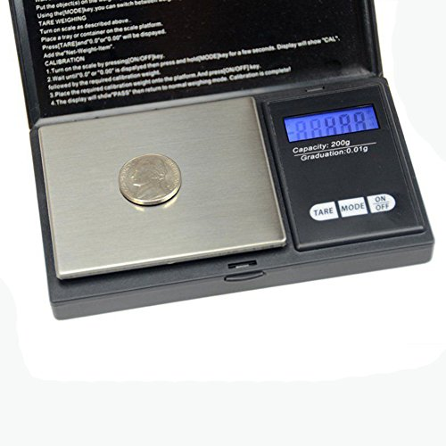 Portable Digital Pocket Scale Mini Digital Weighing Scale 0.01g-100g/200g for Jewelry Coins Reload and Kitchen Scale With Back-lit LCD Display - 200 Coin