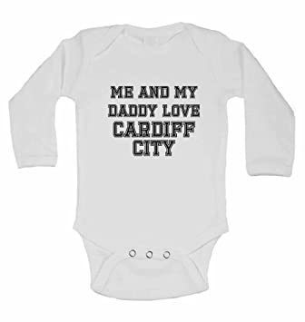 Me and My Daddy Love Cardiff City for Football Fans Long Sleeve Baby Vests Gift