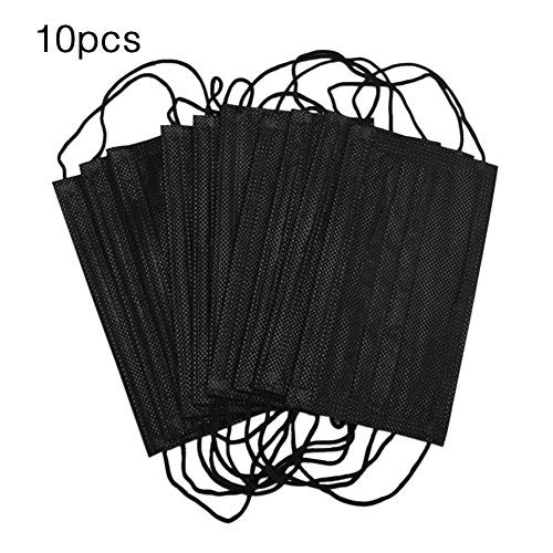 isilky 10 Pack Disposable Face Masks Breathable Dust Filter Masks Mouth Cover Masks with Elastic Ear Loop,Breathability Comfort-Black