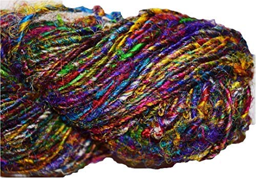 (100 g Himalayan Recycling Silk Yarn Multicolored Red Blue Pink Multi)