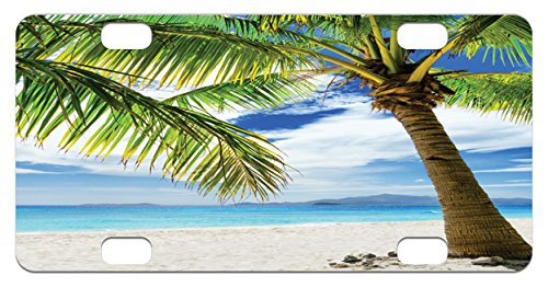 Lonely Palm Tree Mini License Plate by Ambesonne, Sandy Beach Isolated Philippines Hot Sunny Travel Destination, High Gloss Aluminum Novelty Plate, 2.94 L x 5.88 W Inches, Green Coconut - Sunnies Philippines
