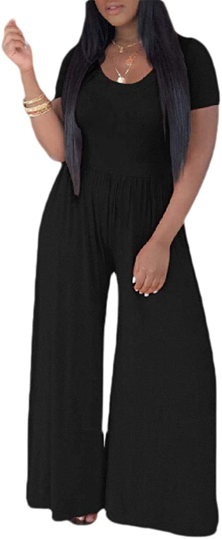 GAGA Women V Neck Short Sleeve Jumpsuits Wide Leg Loose Fit Long Romper