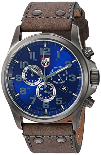 Luminox Men's 'Atacama Field' Swiss Quartz Stainless Steel and Leather Casual Watch, Color:Grey (Model: 1943)
