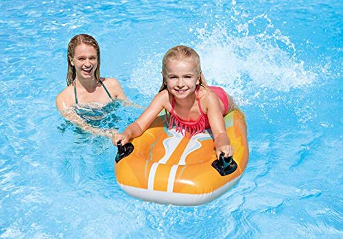 NTS red/Yellow Children's Swimming Ring Inflatable Water Board Children's Play Water Surfing Floating Row Handle Water Drifting Bed, Specifications: 112x62Cm. (Yellow) by NTS