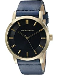 Vince Camuto Mens VC/1079BKGP Gold-Tone and Navy Blue Leather Strap Watch