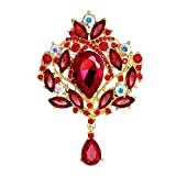 Happy Hours - Stylish Crystals Rhinestone Brooch Clips / Women Jewelry Alloy Glass Pins Pendant for Bride Bridesmaid Wedding Party Prom Anniversaries Gift(Red)