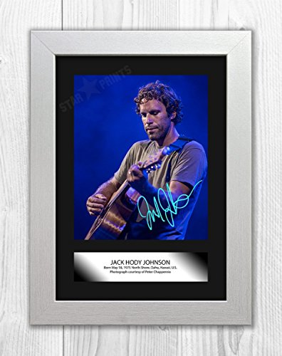 Engravia Digital Jack Johnson Poster Signed Mounted Autograph Reproduction Photo A4 Print(White Frame)
