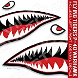 Flying Tigers Shark Mouth Teeth Die-Cut Vinyl Decals 50'' inches (1 Pair)