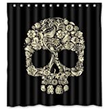 Justsong Custom Skull In Floral Pattern Waterproof Bathroom Shower Curtain With Hooks