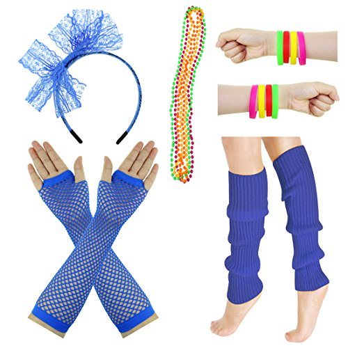 JINSEY Women's 80s Outfit accessories Leg Warmers Gloves For 1980s Theme Party Supplies-Royal Blue]()