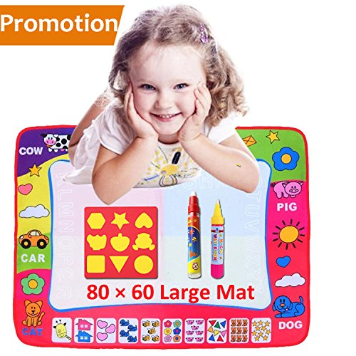 Aqua Doodle Mat, 4 Colored Water Drawing Painting Writing Educational Toy Mat Board + 2 Magic Pen Learning Doodle Gift + Cartoon Seal for Children Baby Toddlers Kids Boys Girls (31.5 X 23.6 Inches)