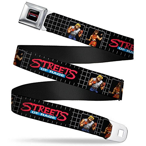 Plated Chrome Grid (SEGA GENESIS STREETS OF RAGE Logo Full Color Black/Red/Blue/White Seatbelt Belt - STREETS OF RAGE Pixelated Axel & Blaze Pose Blocks Grid Black/Gray Webbing X-LARGE)