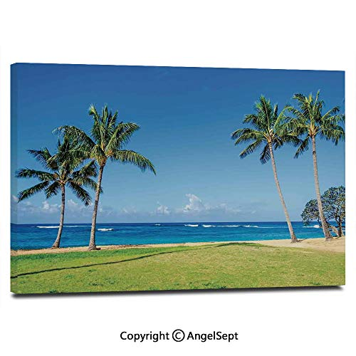 Modern Gallery Wrapped Coconut Palm Trees and Lawn on The Sandy Poipu Beach in Hawaii Kauai Picture Pictures on Canvas Wall Art Ready to Hang for Living Room Kitchen Home Decor,12