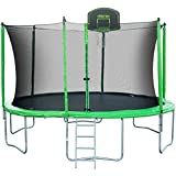 Merax 14-Feet Round Trampoline with Safety Enclosure, Basketball Hoop and Ladder (Green)