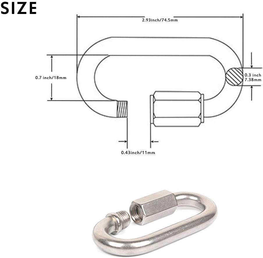 M8 304 Quick Link Screw Lock MEEQIAO 4PCS Carabiner Clip Heavy Duty Stainless Steel Bearing 500kg D Shape Marine Grade Camping Climbing Traveling Hiking Keychain with Connector Buckle for Home