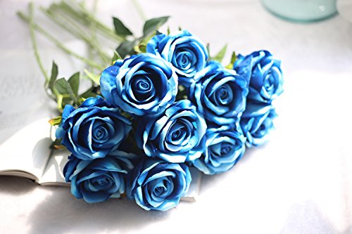 Cinxy Artificial Flowers Long Stem Silk Rose Flower Bouquet Wedding Party Home Decor, Pack of 6 (White) ()