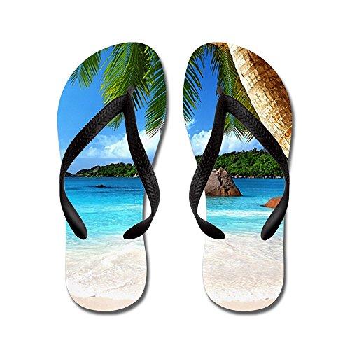 Cafepress Tropical Island - Chanclas, Sandalias De Tanga Divertidas, Sandalias De Playa Negras
