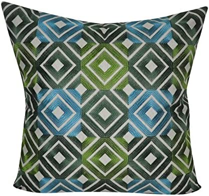 Loom And Mill Bohemian Diamond Square Fabric Design Decorative Plush And Fluffy Accent Decor Throw Pillow 22 X 22 Black Tan Blue Yellow Amazon Co Uk Kitchen Home