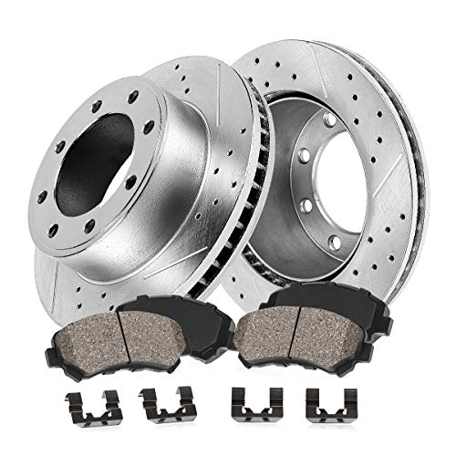 Callahan CDS03331 FRONT 331mm Drilled & Slotted 8 Lug [2] Rotors + Ceramic Brake Pads + Clips [GS350 GS450H GS460 - Disc Brake Front Econoline