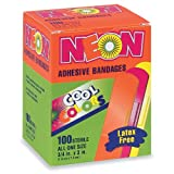 "Neon Adhesive Bandages, Assorted Colors, 3/4"" x 3"", 100/BX"