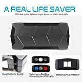 Portable Jump Starter 500A Peak 12000mAh,Kshioe Car Battery Booster with Powerful LED Flashlight, Triple-Mode Lamp, USB Output , Escape Hammer and Emergency Blade