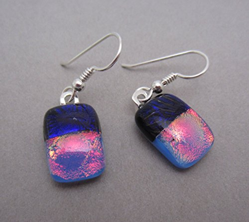 [Exceptional Red Blue fused dichroic glass dangle drop earrings. Sterling silver ear wires] (Dichroic Glass Earrings)