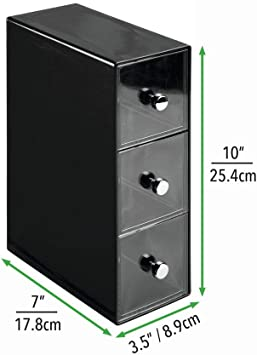 mDesign Organizador de cocina con 3 cajones de plástico – Mini ...
