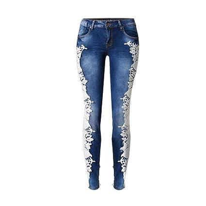 Jeans de Encaje de Mujer Empalme Pantalones de Mezclilla ...