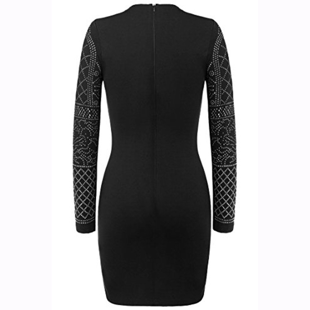 Smartbuyerz Women Autumn Bling Sequin Bodycon Dress Sexy Geometric Retro O-Neck Long Sleeve Elegant Dresses at Amazon Womens Clothing store: