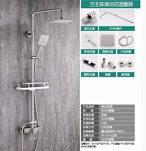 (Shower 304 Stainless Steel Shower Set Turbocharged Intercooled Tap Nozzle Water Mixing Valve Square Lifting Bathroom In The Rain,A)