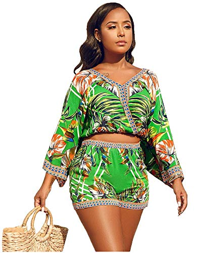 MENCCINO Womens Summer Sexy Shorts Set - African Printed 2 Piece Outfits Beachwear Yellow (2 Piece Printed Set)