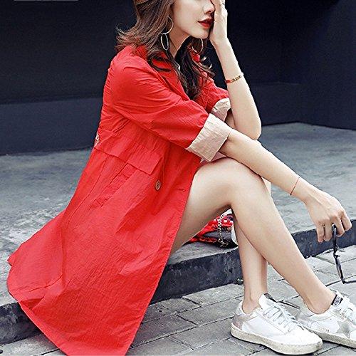 QFFL fangshaifu 夏の薄いセクションルーズな刺繍日焼け防止服/女性ロングセクションカジュアルステッチカラーコート/通気性快適な抗UVサンスクリーンカーディガン (色 : B, サイズ さいず : Xl xl)