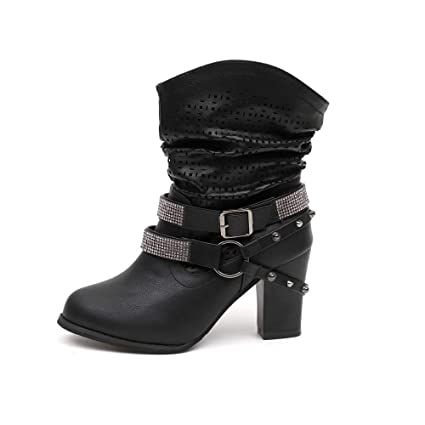 Zapatos Mujer Otoño invierno alto talón,Sonnena ❤ Botas de mujer otoño invierno ahueca